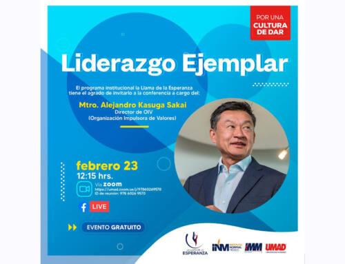 Alejandro Kasuga dará conferencia sobre liderazgo en la UMAD